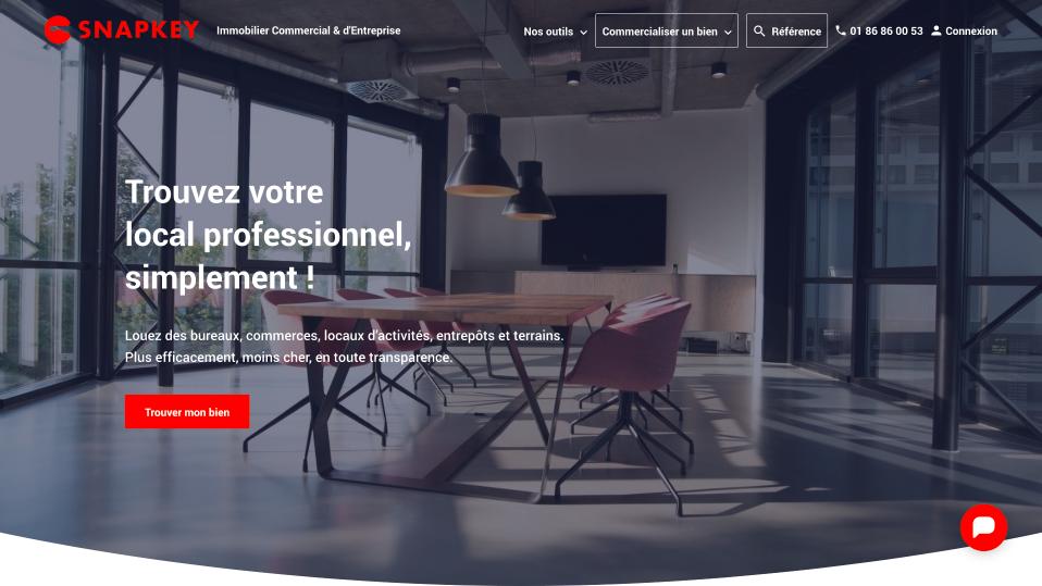 Le site web de SNAPKEY, la plateforme de transactions en immobilier commercial et professionnel, nouvelle génération.